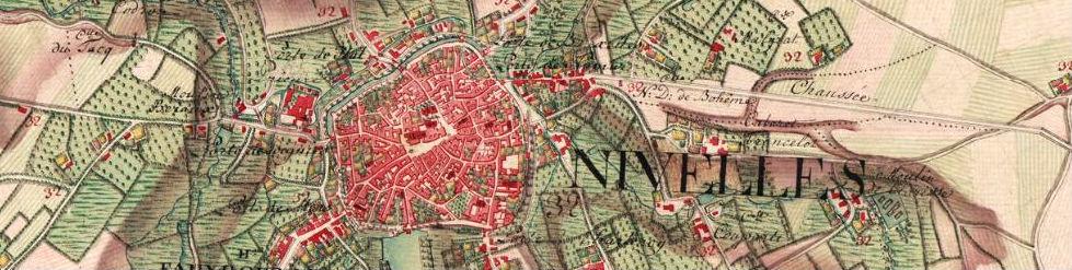 Carte de Nivelles aux environs de 1770